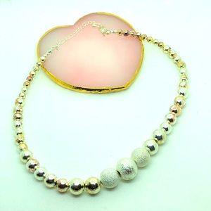 Beaded Silver textured Necklace